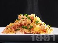 Вкусно задушено свинско месо с картофи и гъби манатарки в тенджера